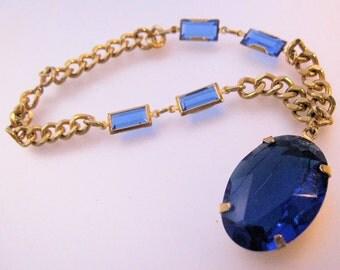 Vintage Blue Stone Charm Drop Charm Chain Bracelet Costume Jewelry Jewellery FREE SHIPPING