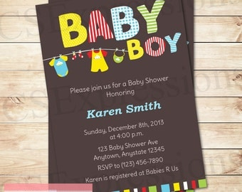 Baby Boy Clothesline Baby Shower Invitation
