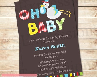 Oh Baby Boy Stork Baby Shower Invitation