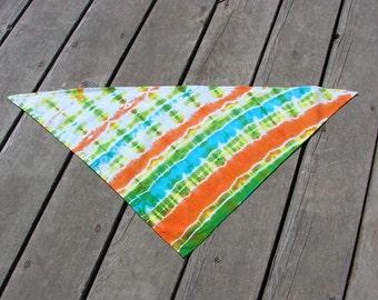 Tie Dye Pet Scarf - Bright Tropical Stripes