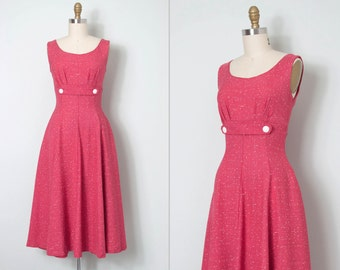 vintage 1950s dress / 50s pink linen dress / Dotted Damsel
