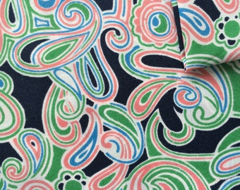 Vintage Fabric 60's Mod Polyester, Navy, Floral, Swirl, Material, Textiles
