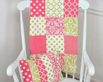 Baby Girl Blanket, Minky Blanket, Coral Pink Nursery Decor, Patchwork Blanket, Gold, Coral Pink, White, Dots, Damask, Gold Nursery