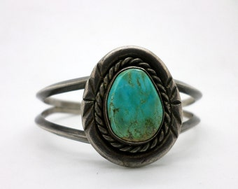 Vintage Silver and Turquoise Cuff Bracelet Native American Style