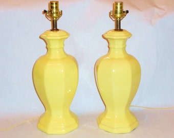 Vintage Pair of Hollywood Regency Chinoiserie Lemon Yellow Gourd Shaped Ginger Jar Lamps