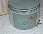 Debutante Cleansing Cream Jar- Milk Glass-Vanity Collectible- Boudoir Accessory