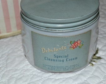 Debutante Cleansing Cream Jar- Milk Glass-Vanity Collectible- Boudoir Accessory