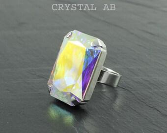 Rectangular ring, swarovski crystal ring, Crystal brandy, red magma, crystal ab, black diamond