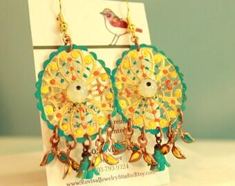 Chandelier Earrings - Filigree Earrings - Hand Painted Earrings