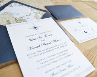 Compass Rose Wedding Invitation Card Suite