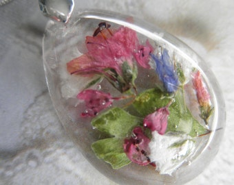 Pink Alyssum, Blue & Pink Veronica, Baby's Breath, Ferns-Glass Teardrop Pressed Flower Pendant-Symbol Worth Beyond Beauty-Gifts Under 35