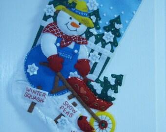 ON SALE ************ Bucilla Completed Felt Snow Garden Christmas Stocking