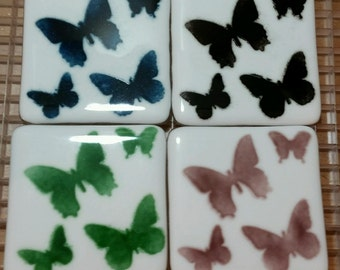 Set of 4 Hand Cut and Fused Glass Coasters with Butterflies