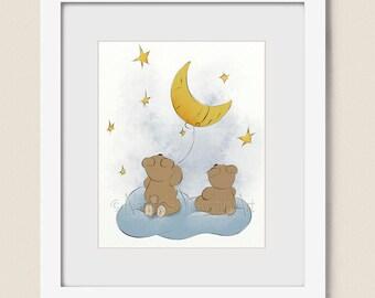 8 x 10 Childrens Art for Boys Nursery Decor, Babys Nursery Art, Girls Wall Art for Kids Room, Moon and Stars Art  (397)