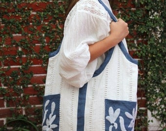 Blue Linen and white Otomi tote with hand embroidered and handwoven  details