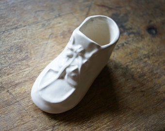 Vintage Baby Shoe Planter | White Pottery | Nursery Decor |  Baby's Room Decoration