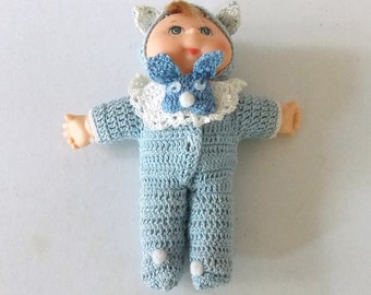 """5"""" H Doll, Handmade Outfit, Bib, Doll Crochet Outfit, Toy, Birthday Gift, Cute Doll, Blonde Haired, Collector Doll, Vintage"""
