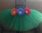 Girls Hula Tutu- Hula girl costume- Grass skirt- Hula Leilani tutu- Green tutu- Hawaiian tutu- Hula skirt- Hula girl tutu