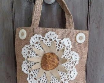 Small BURLAP TOTE with Crocheted Lace Doily, Primitive Flower, Vintage Buttons