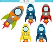 ON SALE rocket clip art - Digital clip art, space kids clip art, spaceship clip art, blue, green, orange, INSTANT Download Clip art