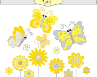 ON SALE flower clipart - Digital clip art butterfly - yellow flowers clipart, yellow and gray, Butterfly and flowers clipart, instant dow