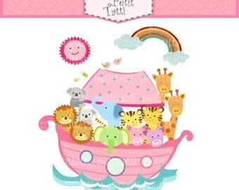 ON SALE Noah's ark clip art - Digital clip art, pink noah clip art, Noah's ark scene, noah ark, cute animals clip art, instant download