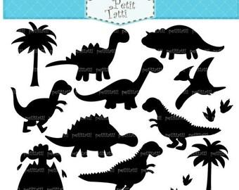 ON SALE Dinosaur Digital clip art - silhouette Dinosaur clip art, black dinosaur, dinosaurs, INSTANT Download