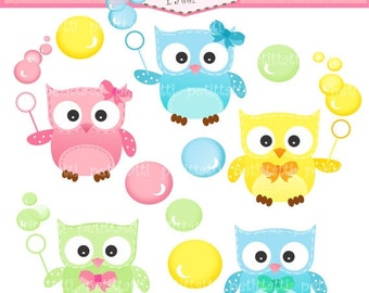 ON SALE owl clip art clipart - baby owls Digital clip art - Owls and bubble, instant download clip art