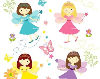 ON SALE girl clipart cute fairy clipart '- Digital clipart, fairy girls clipart, instant download