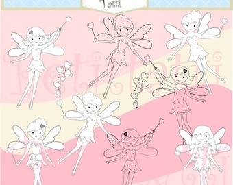 ON SALE fairy clip art- girls clip art , digital stamp clip art, line art , fairies clip art, digital scrapbook , girls birthday
