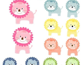 ON SALE Lion clip art, Digital clip art, Lions 2, cute animals yellow, blue, pink lion, instant download clip art