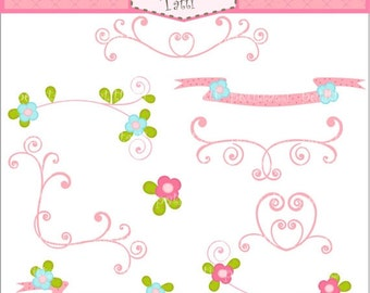 ON SALE Fairy swirl pink flowers  border Digital clip art, Instant download clip art