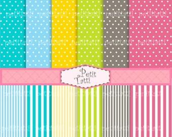 ON SALE digital paper, Instant download digital paper, set of 12 Polka dots and stripe digital sheets, Pink, green blue, spots
