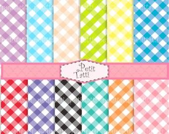 ON SALE instant download digital paper - set of 12 Gingham digital sheets , Gingham paper clip art, Pink, green, blue, purple