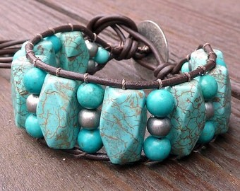 Howlite Cuff Bracelet - Turquoise Blue Howlite Beads, Brown Leather Bracelet, Pewter Beads