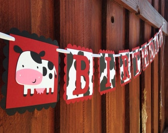 Cow Themed HAPPY BIRTHDAY Banner - Cowboy Cowgirl Western Cow Print Birthday Sign - Cow Print Birthday Party Decoration