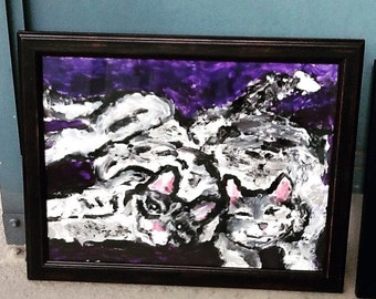 "Original painting with black wooden frame (14x18) ""Two Cuddling Cats"""