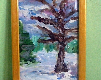 "Original acrylic painting (6x8) in yellow ochre frame, ""A Single Bare Tree in Winter Forest"""