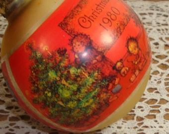 Vintage Hallmark Christmas Ornament, Christmas Charmer, 1980, Tree Trimmer Collection, Glass, Holiday Decor, Red, Boxed  (360-15)