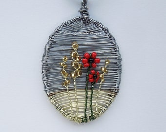 Wheat & Poppies wire pendant, wire wheat field pendant, MADE TO ORDER, poppy pendant, poppy necklace
