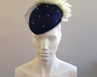 Catherine – Navy Veiled Beret with Cream Flowers - Stunning hat perfect for a wedding or the races, can be made in other colours