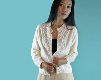50s Vintage CARDIGAN SWEATER / 1950s Beaded Vintage Sweater / Womens Cream Wool Angora Sweater 50s Sweater / Evening Dress Sweater S / M
