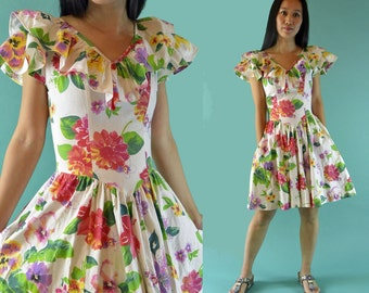 Vintage 80s Dress / Floral Garden Party Dress / Ruffled Drop Waist Dress Floral Dress Women / Sun Dresses for Women Floral Dress Vintage XS