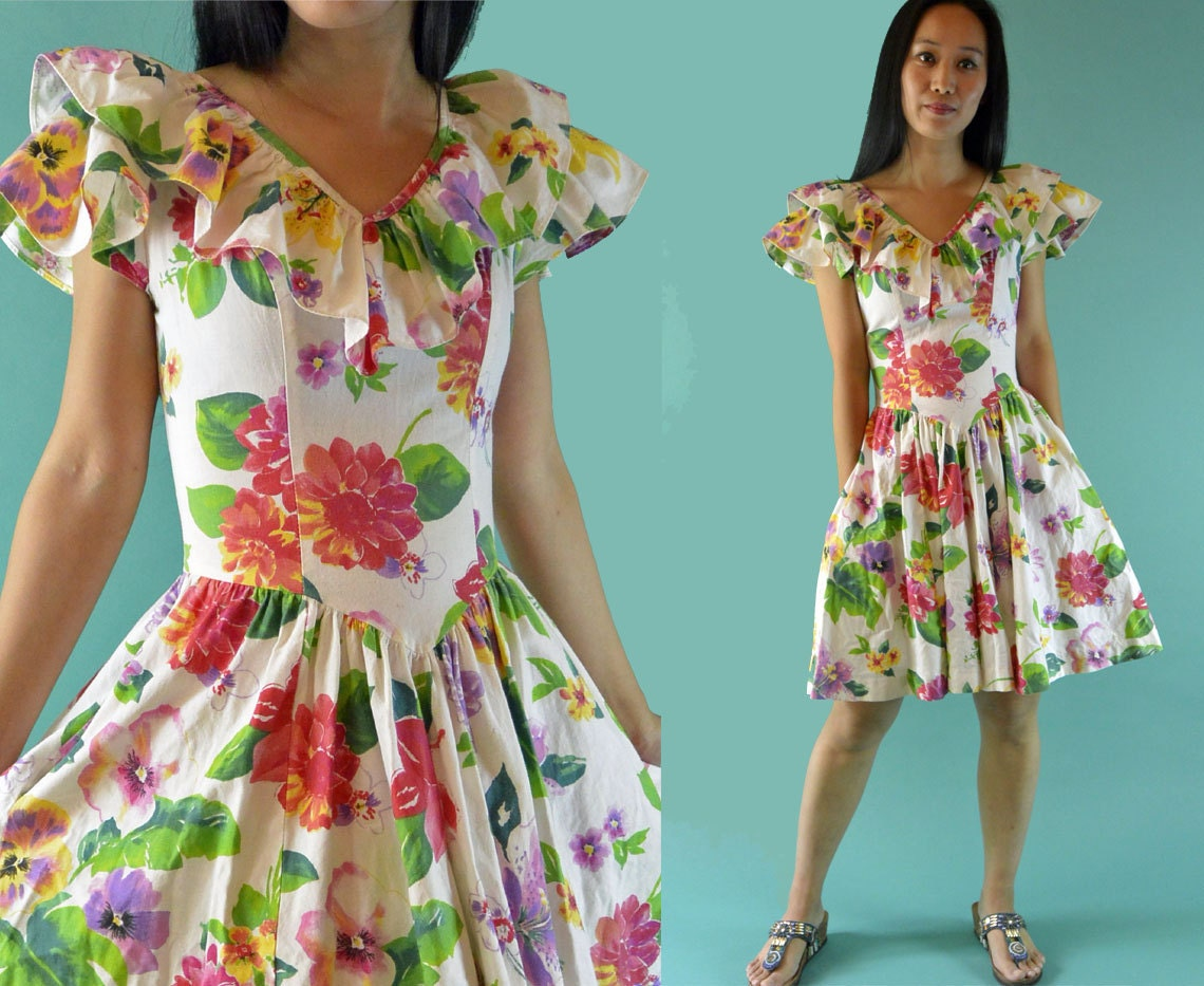 Vintage 80s Dress / Floral Garden Party Dress / Ruffled Drop | 1140 x 933 jpeg 189kB