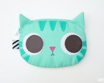 Minty cat coin purse