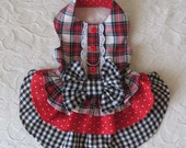 Dog Harness Dress plaid checks polka dots Small