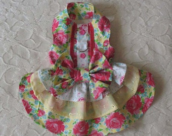 Dog Harness Dress Yellow with Roses XS