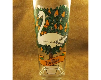 7th Day of Christmas – 7 Swans A-Swimming - 12 Days of Christmas Glass - Partridge in a Pear Tree Song -Vintage Pepsi Christmas Glassware