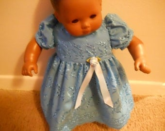 BlueCotton  lace with flower and blue ribbon dress for 15in or 18in doll