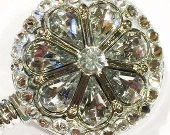 Clear Flower Swarovski Crystal & Rhinestone Embellished Retractable Name Tag ID Badge Reel